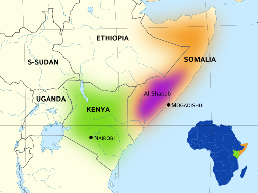 Map of Kenya and Somalia